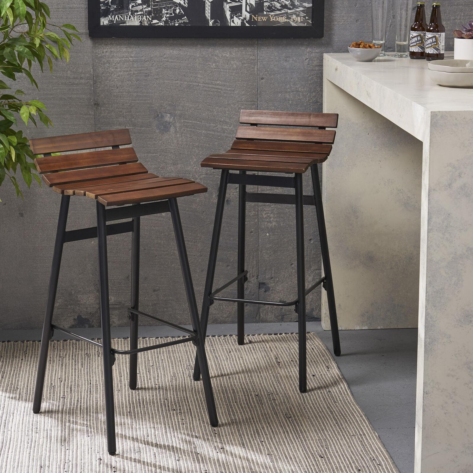 Camron 35″ Wooden Barstool (Set of 2) Benches, Stools & Bar Stools