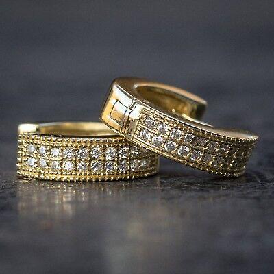Mini 14k Gold High Quality Lab Diamond Hoop Earrings 14k Gold Mini Earrings