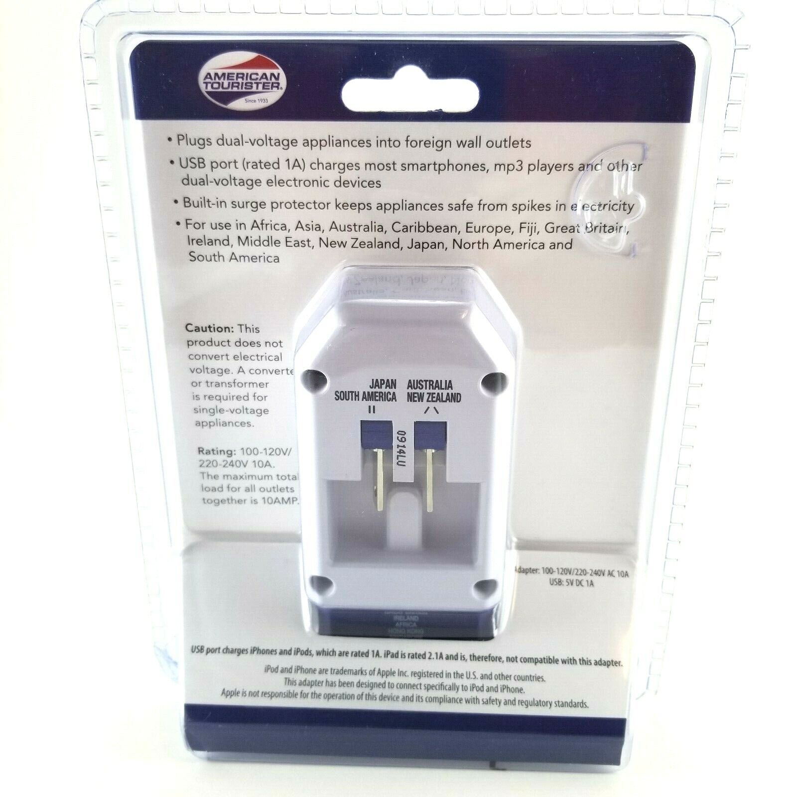 American Tourister All-in-one International Adapter plug with 3 outlets and USB 1
