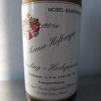 1991 Riesling Hochgewächs Dhroner Hofberger Weißwein Mosel Weingut Schneider-K.