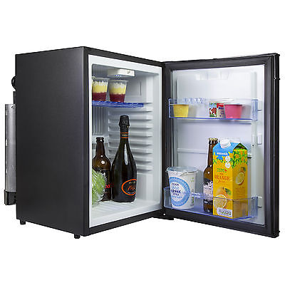 iceQ 40L Caravan, Motorhome, 3 Way Absorption Fridge Black, 12V, Gas, UK Mains