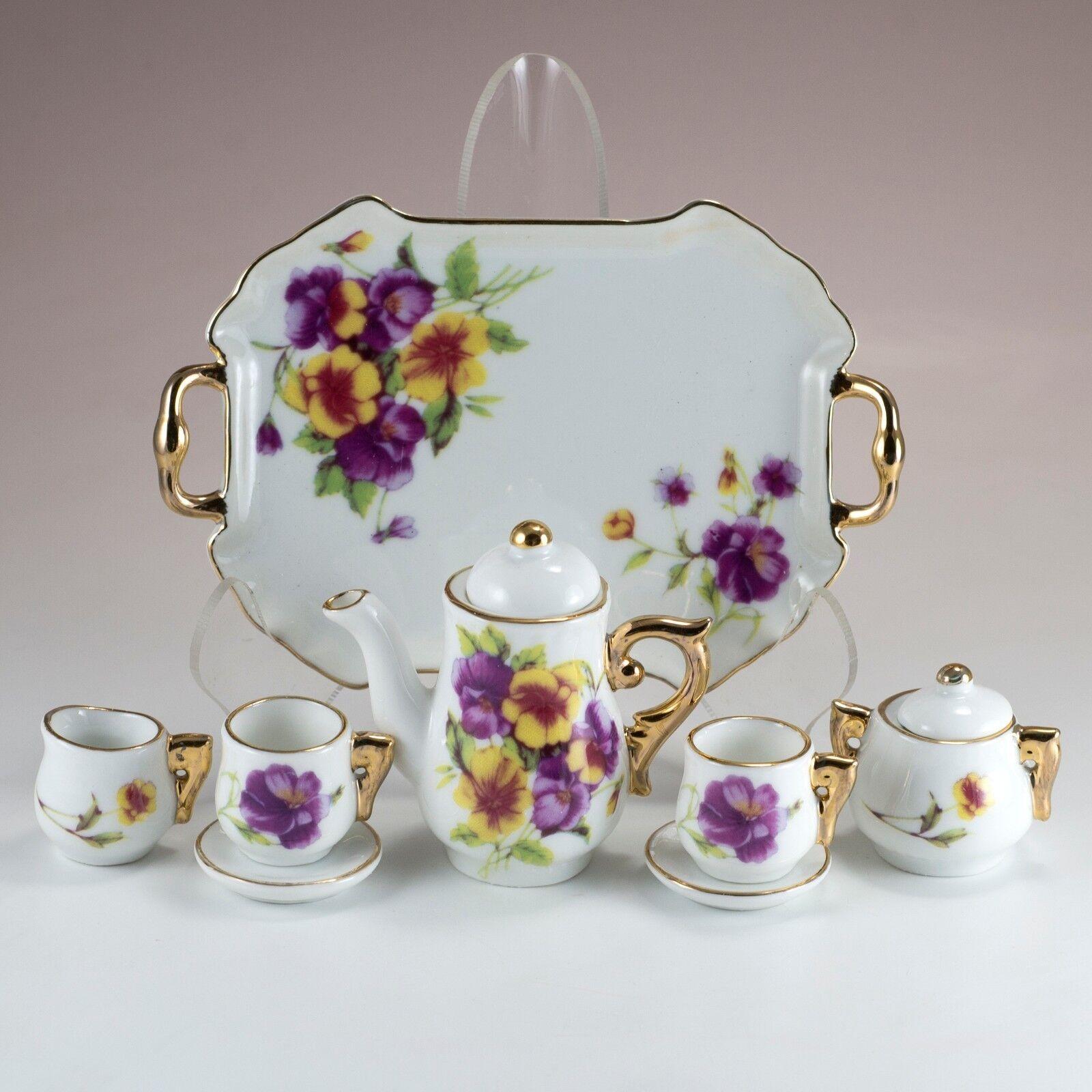 Porcelain 10 Pc Mini Miniature Flowers Pansy Tea Set Teapot