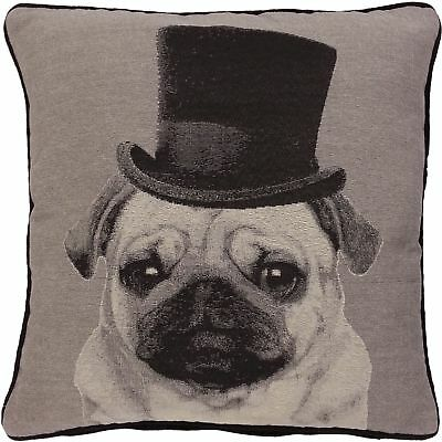 LORD PUGGINGTON TOP HAT PUG DOG WOVEN TAPESTRY MONOCHROME CUSHION COVER 18
