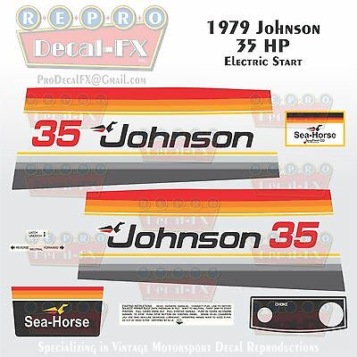 (1979 Johnson 35 HP Electric Start Outboard Reproduction 16Pc Marine Vinyl Decals)