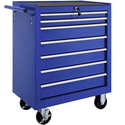 Werkzeugwagen 7 Schubfächer Werkstattwagen Rollwagen Werkzeugkiste Ablage blau