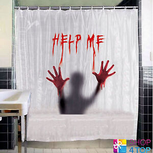 HELP ME BATH SHOWER CURTAIN BATHROOM BLOOD HORROR HALLOWEEN FUNNY NOVELTY GIFTS
