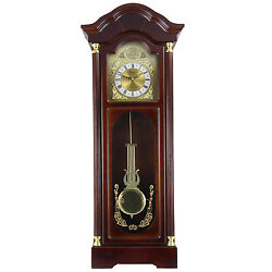 BEDFORD 33 CHERRY OAK FINISH GRANDFATHER CHIMING WALL CLOCK with ROMAN NUMERALS