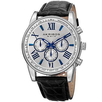Men's Akribos XXIV AK864SS Silver-tone Multifunction Black Leather Strap Watch