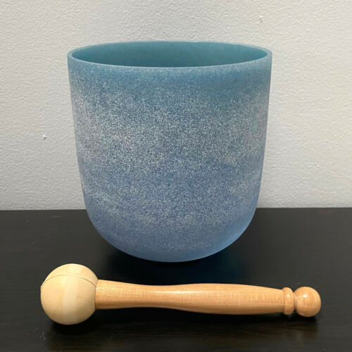 """Sapphire Fusion Perfect Pitch D# 5th Oct Chakra Frosted Crystal Singing Bowl 6"""""""