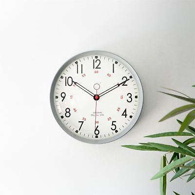 Metal Wall Clock Retro Large Round Home Office Bedroom Kitchen Work - Grey
