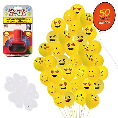 QP Latex Emoji Smiley Face Balloons, 50 Pack. w/ Balloon Tying Tool and more