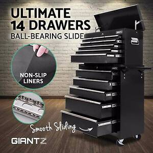 14 Drawers Black Mechanic Tool Box Storage Cabinet Chest Trolley Brisbane City Brisbane North West Preview