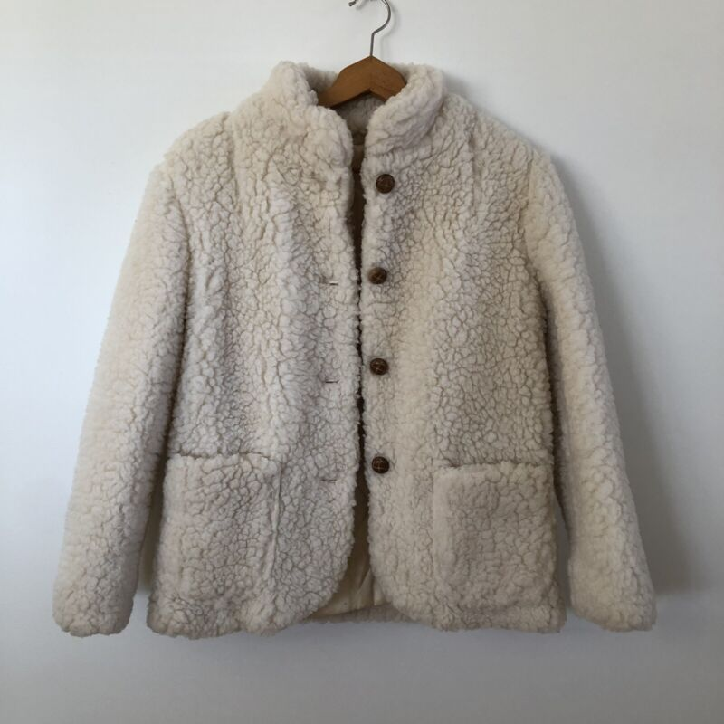 Vintage Union Made Faux Sherpa Fur Coat Teddy Button Quilted Lined Beige Sz S/M