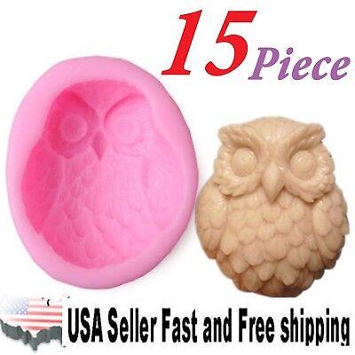 15 Piece Owl DIY Handmade Soap Mold Silicone Molds ~ US Seller