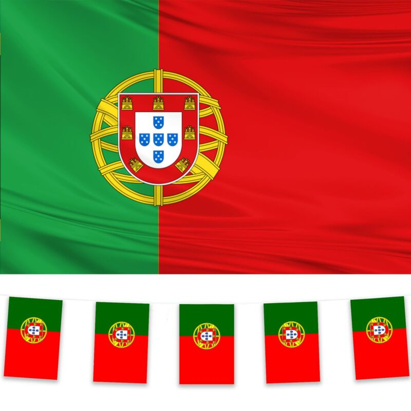 Portugal Flag & Bunting Pack Polyester 5x3 Flag 10m Bunting Portuguese Football
