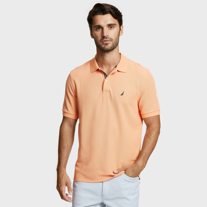Nautica Mens Classic Fit Solid Mesh Polo Shirt