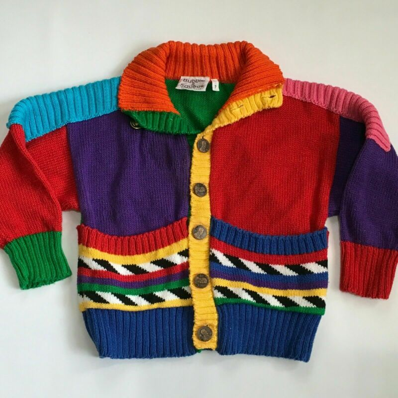 Bubble & Squeak Colorful Hand Loomed Cardigan Sweater size 7