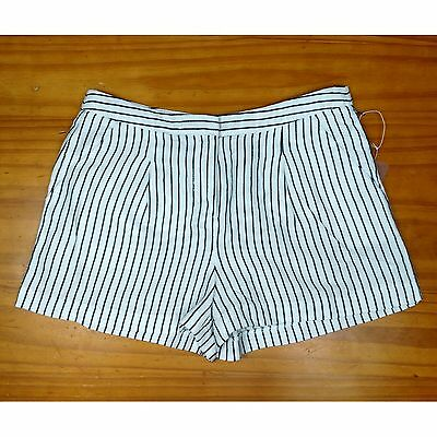 FOREVER 21 pinstripe lined new summer spring shorts white/blue womens size Small