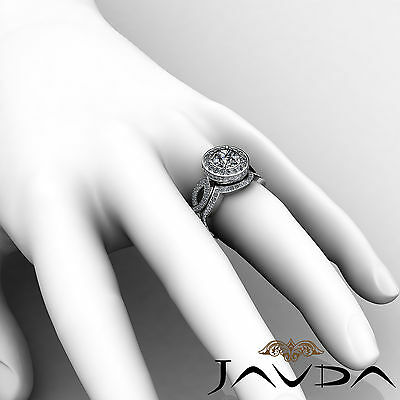 Cross Shank Circa Halo Round Diamond Engagement Pave Set Ring GIA I SI1 2.8 Ct 6