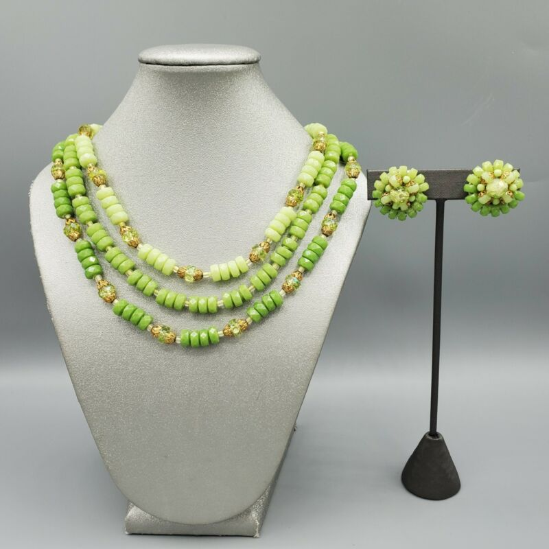 Vintage West German Green Ombre Plastic Rondelle Bead Necklace & Clip Earrings