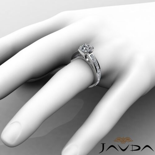 Round Brilliant Diamond Engagement Channel Ring GIA F SI1 14k White Gold 2.7ct 3