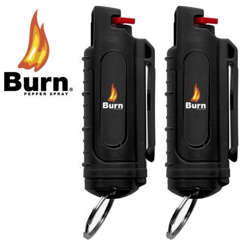 (2) BURN Pepper Spray Self Defense .50oz Black Hardshell Keychain Molded