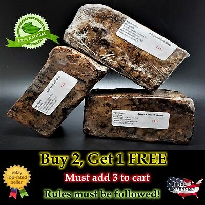 1lb Raw African Black Soap Natural Organic Unscented for Stretch Marks Face Body