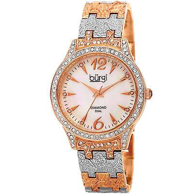 Women's Burgi BUR127TTR Crystal Bezel Mother of Pearl Diamond Bracelet Watch