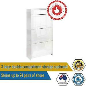 High Gloss Shoe 24 Pairs Shoe Cabinet Rack Storage Shelf Cupboard Paddington Eastern Suburbs Preview