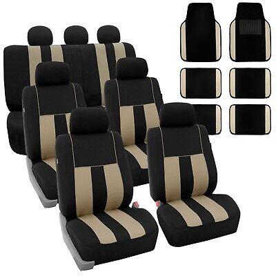 Beige Black 3Row SUV Split bench Car Seat Covers Full Set with Carpet Floor Mats