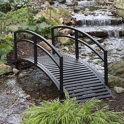 Outdoor Garden Bridge Metal 8ft Backyard Decor Walkway Black Pond Arch Yard New