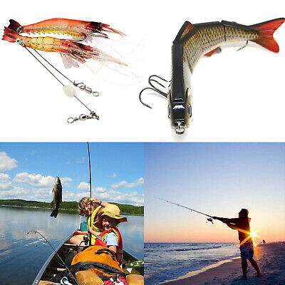 Best Lifelike Multi-jointed 4-segement Pike Muskie Fishing Lure Shrimp Bait