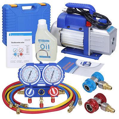 Combo 4 Cfm 13hp Air Vacuum Pump Hvac R134a Kit Ac Ac Manifold Gauge Set