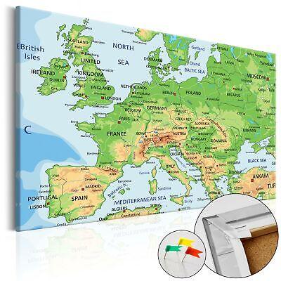Neuheit Leinwand (NEUHEIT! LEINWANDBILDER KORK PINNWAND LANDKARTE EUROPA k-C-0025-p-a)