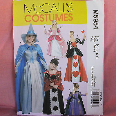 McCall's MP306 5954 Girl's Storybook Queen of Hearts Gown Cape Pattern KIDS 3-8 - Queen Of Hearts Costume Pattern