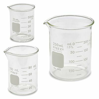 Corning Pyrex 1000 Low Form Beaker Set - 3 Sizes - 50mL, 100mL, 250mL