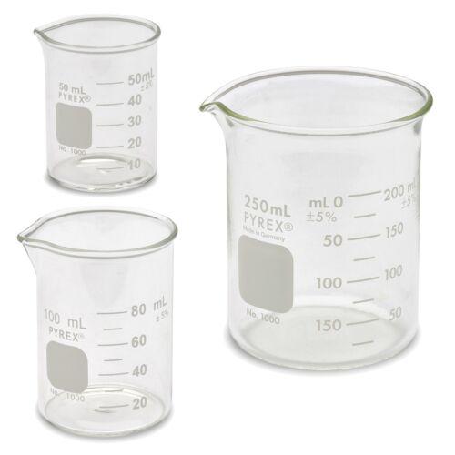 Corning Pyrex 1000 Low Form Beaker Set - 3 Sizes - 50ml, 100ml, 250ml