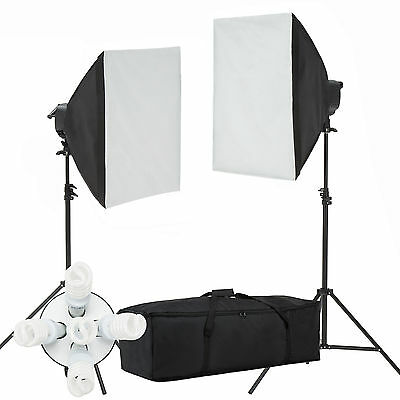 Photo Studio Video Photography Softbox Light Stand Continuous Lighting Kit 2000W