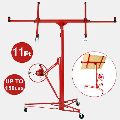 11 Drywall Panel Rolling Lifter Dry Wall Hoist Jack Caster Lockable Lift Tool