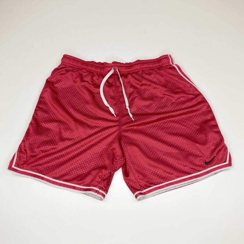 Vintage NIKE Red White Striped Athletic Mesh Basketball Shorts - Mens Small
