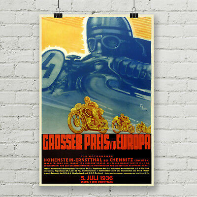 Grand Prix of Europe Motorcycle Vintage Racing Poster Canvas Art Print