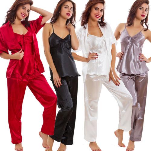 Pigiama donna tre pezzi top pantaloni giacca raso intimo lingerie nuovo A-89