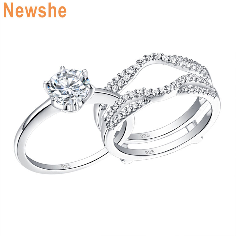 Newshe Wedding Rings For Women Round Aaaa Cz Engagement Ring Set Sterling Silver