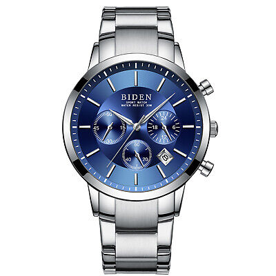 Mens Quartz Watch Blue Dial Aolly Case 6 Hands Second Time Best Gift (Best Blue Dial Watches)