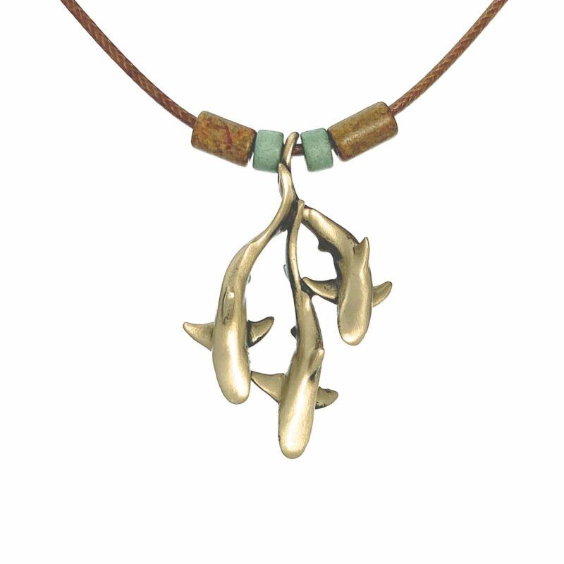 Shoreline Collection Ocean Theme  Solid Bronze Sea Life Shark Trio Pendant Neckl