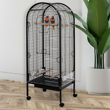 Metal Bird Cage With Rolling Standing Large Open Playtop 5ft w/ perches and