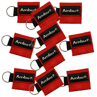 (10 lot RED Ambu Res-Cue Key MINI CPR Keychain Masks / Face Shield Barrier Kits)