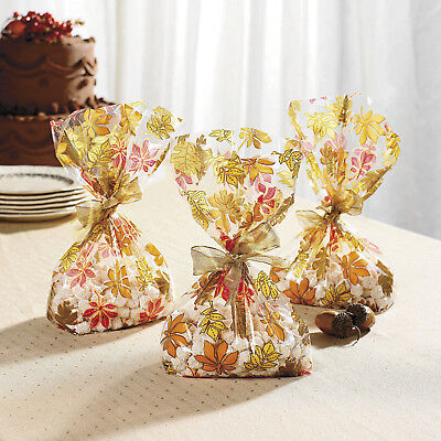 24 THANKSGIVING Fall Autumn Party Favors CELLOPHANE GOODY BAGS LEAVES Leaf - Thanksgiving Goodie Bags