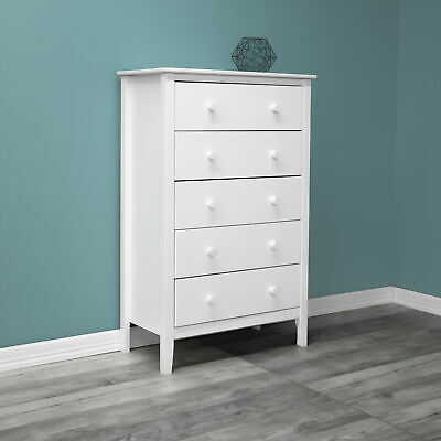Solid Wood 5-drawer Dresser Cottage Traditional Bedroom Storage Furniture White