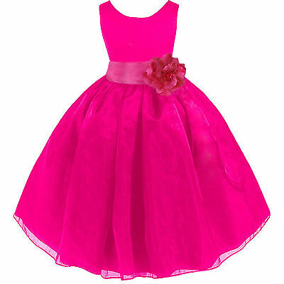 FUCHSIA HOT PINK ORGANZA FLOWER GIRL DRESS PAGEANT RECITAL WEDDING RECITAL KIDS - Flower Girl Dresses Organza